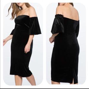 Eloquii Black Velvet Strapless Full Sleeve Dress